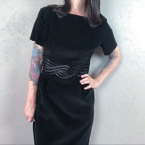 Vintage Dresses - Vintage 1950s Black Velvet Wiggle Dress